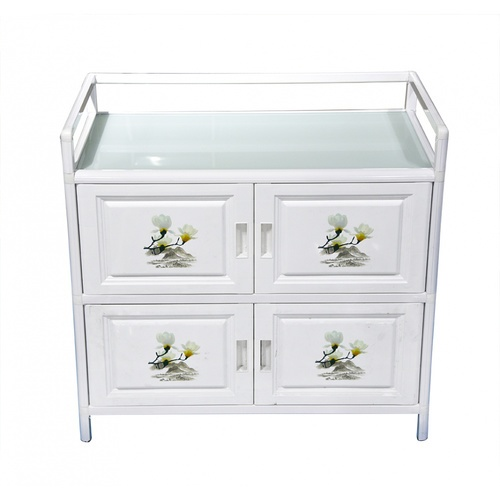 CROWN ตู้อเนกประสงค์สำหรับใช้ในครัว ขนาด 79x41x77 ซม. Aura  สีขาว