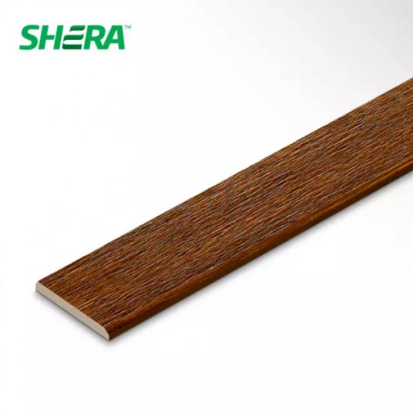SHERA ไม้ระแนง ขอบวีลายเสี้ยน ชายน์ไลท์ ขนาด  0.8x7.5x300ซม.สีสักทองดำ
