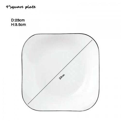 ADAMAS จานเซรามิคทรงเหลี่ยม ขนาด 9 นิ้ว ANTONIO คละสี