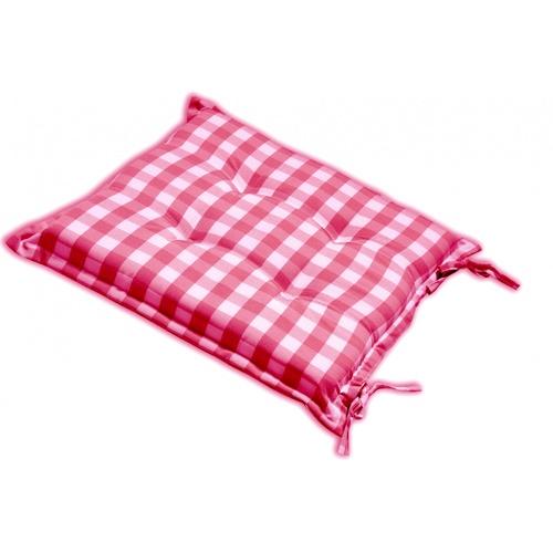 COZY เบาะรองนั่งสี่เหลี่ยม ขนาด40×40×5ซม. ลายตาราง กันน้ำ สีแดง