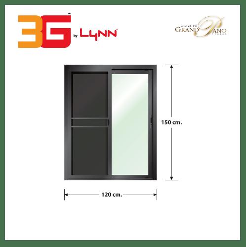 3G หน้าต่างบานเลื่อนสลับ SS (GP) ขนาด 120cm.x150cm. สีดำเงา พร้อมมุ้ง GRAND