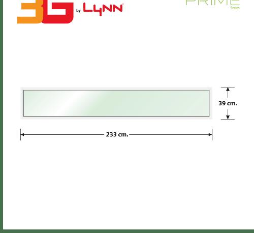 3G หน้าต่างอะลูมิเนียมช่องแสงติดตาย ขนาด 233x39 ซม.  Prime สีขาว