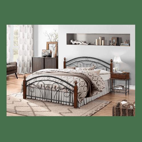 WISDOM เตียงเหล็กเสาไม้ ขนาด 6 ฟุต Strong สีดำ