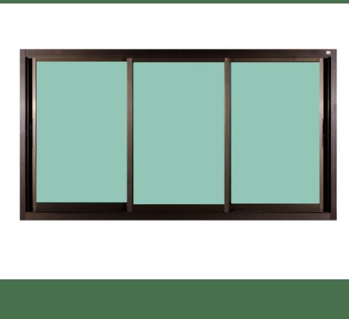 A-Plus หน้าต่างอะลูมิเนียม บานเลื่อน SFS like-004 ขนาด 180x108 ซม. สีชา กระจกเขียวใส  (ไม่มีมุ้ง)