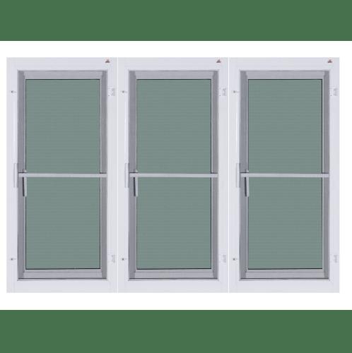 A-Plus หน้าต่างบานเปิด 3 ช่อง  2.00 m. x 1.10 m.  (กระจกสีชา) + มุ้ง Platinum สีขาว