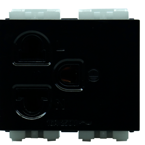 Gpower เต้ารับเดี่ยวมีกราวด์ ขากลมแบน 16A  CPS-113B สีดำ