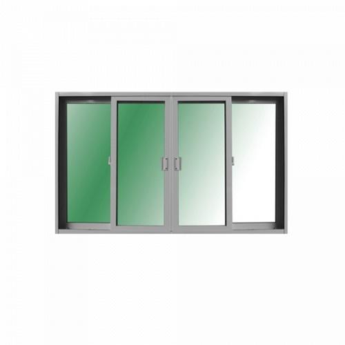 ระฆังทอง ประตูบานเลื่อน UPVC เปิดกลาง 4 ช่อง  ขนาด 300*205 สีขาวกระจกเขียวใส สีขาว