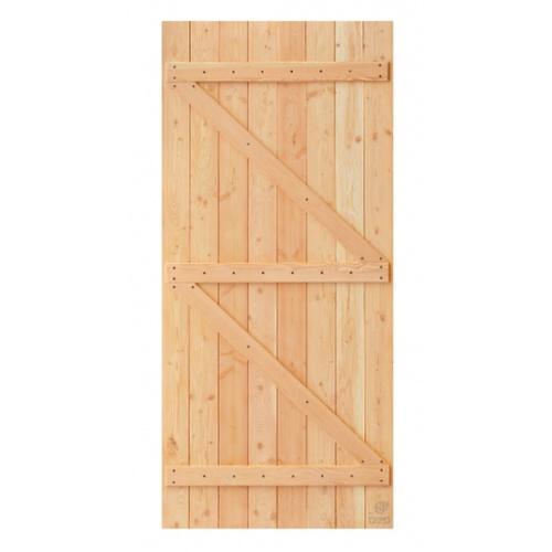 D2D ประตูไม้ดักลาสเฟอร์ บานทีบเซาะร่อง(โรงนา) ขนาด 100x220ซม. Eco Pine-99
