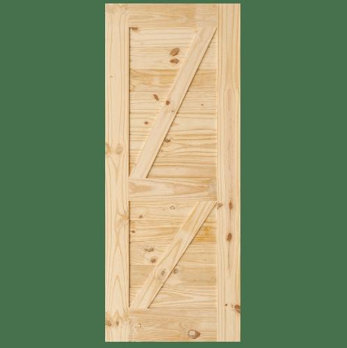 D2D ประตูไม้สนนิวซีแลนด์ บานทีบเซาะร่อง(โรงนา)ขนาด 100x200ซม.  Eco Pine-77