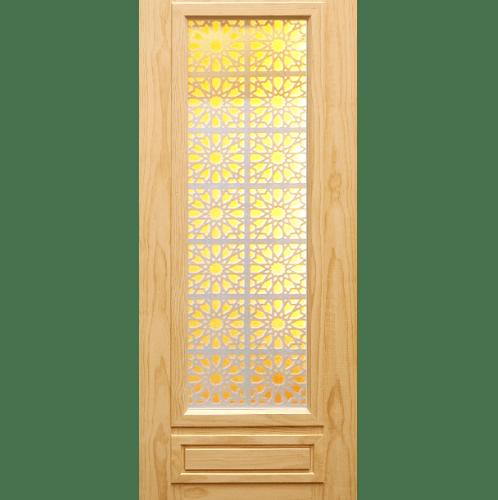 D2D ประตูไม้สนนิวซีแลนด์ ขนาด80x220cm. D2D-601