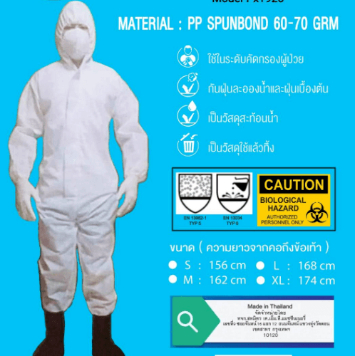 ช้าง ชุดป้องกันเชื้อโรค และสารเคมี ชนิด PPE SIZE M Px 1920