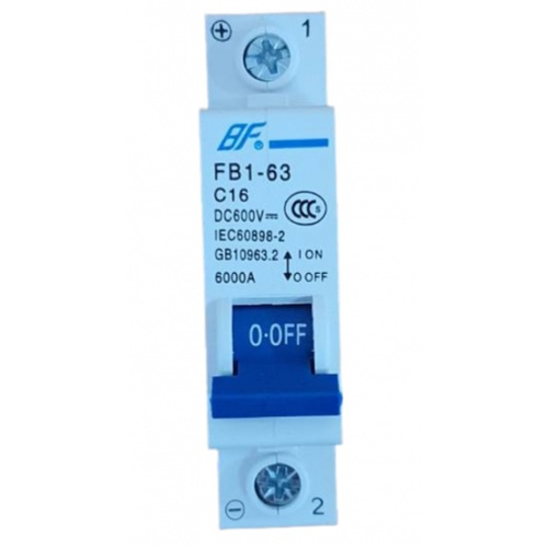 BF เซอร์กิตเบรกเกอร์  FB1-63 DC 1P 16A สีฟ้า