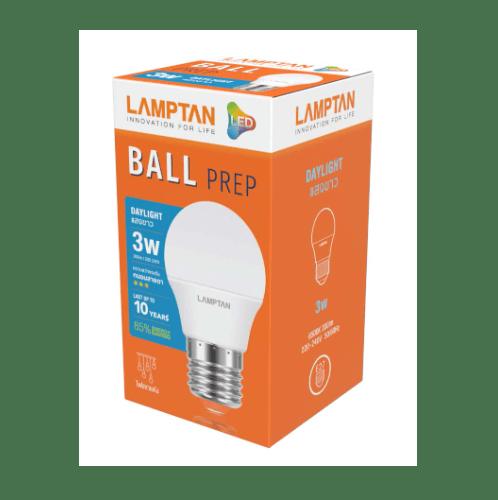 Lamptan หลอดไฟปิงปอง LED 3W แสงเดย์ไลท์ E27 PREP สีขาว