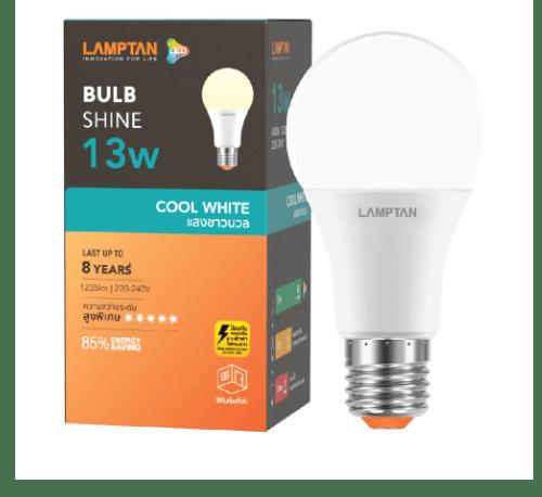 Lamptan หลอดไฟ LED BULB 13W  E27 แสงคลูไวท์  Shine สีขาว