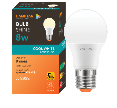 Lamptan หลอดไฟ LED BULB 8W  E27 แสงคลูไวท์  Shine สีขาว