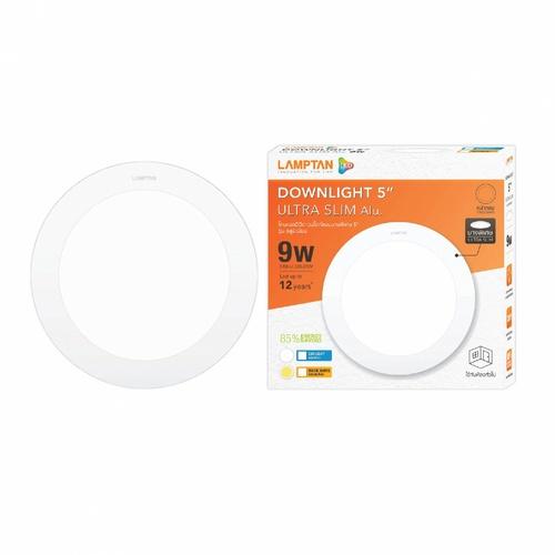 LAMPTAN โคมดาวน์ไลท์ฝังฝ้า LED 9W หน้ากลม ขอบขาว แสงเดย์ไลท์ รุ่นอัลตร้าสลิม อลูมิเนียม Downlight ultra slim สีขาว