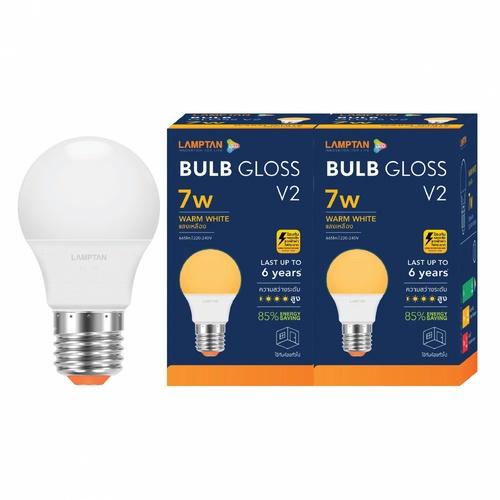 Lamptan หลอดไฟ LED BULB 7W แสงวอร์มไวท์ รุ่น GLOSS V2 E27 P.2 GLOSS V2 สีขาว