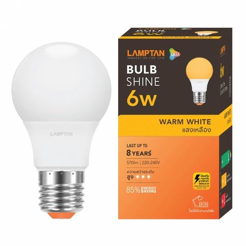 LAMPTAN หลอดไฟ LED BULB 6W แสงวอร์มไวท์ SHINE E27 สีขาว
