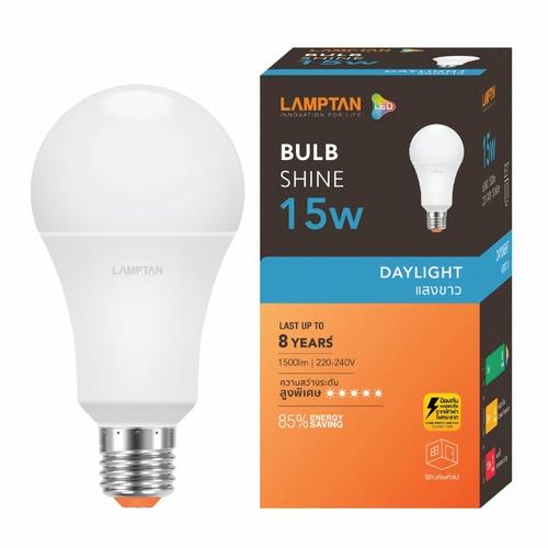 LAMPTAN หลอดไฟ LED BULB 15W แสงเดย์ไลท์ รุ่น SHINE E27 SHINE สีขาว