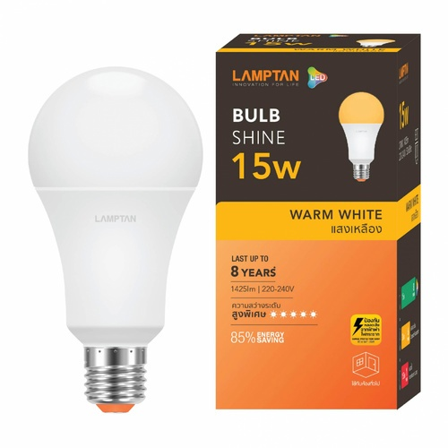 LAMPTAN หลอดแอลอีดี  FLASH 15W A65 วอร์มไวท์  P.10 สีขาว