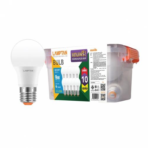 LAMPTAN หลอดไฟ LED BULB BOX 9W แสงเดย์ไลท์ แพ็ค 10 หลอด E27 BULB BOX สีขาว
