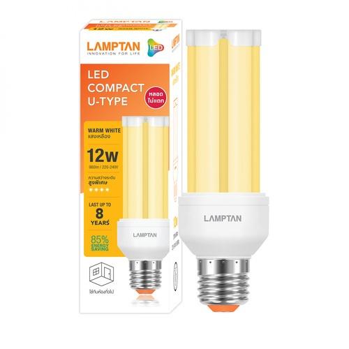 LAMPTAN หลอดไฟแอลอีดี คอมแพค 12 วัตต์ แสงวอร์มไวท์ COMPACT U-TYPE สีขาว