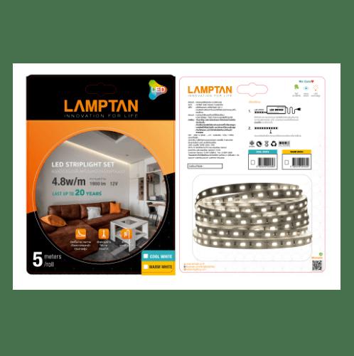 LAMPTAN หลอด LED   4.8W/ม. 5ม./ม้วน วอร์มไวท์+ไดร์เวอร์220V 36W DL สีดำ