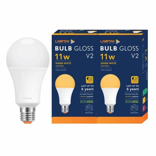 LAMPTAN หลอดไฟ LED BULB 11W แสงวอร์มไวท์ รุ่น GLOSS V2 E27 P.2 GLOSS V2 สีขาว