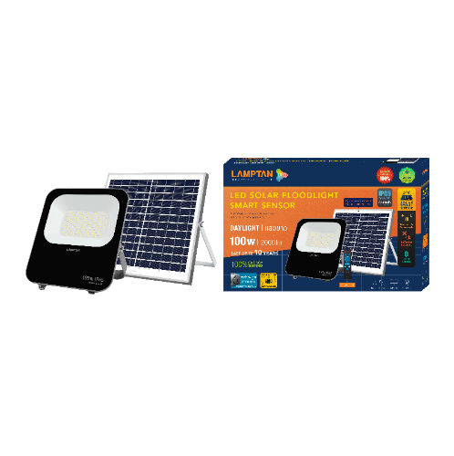 LAMPTAN โคมฟลัดไลท์ LED โซลาร์ 100วัตต์ FLOODLIGHT สีดำ