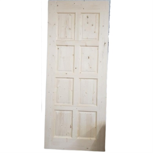 GREAT WOOD ประตูไม้สน บานทึบ 8ฟัก ขนาด 200x80cm.  PN-3 สีครีม