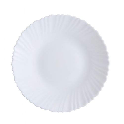 ADAMAS จานโอปอลขอบริ้ว 10.5 นิ้ว HBTP105-HO สีขาว