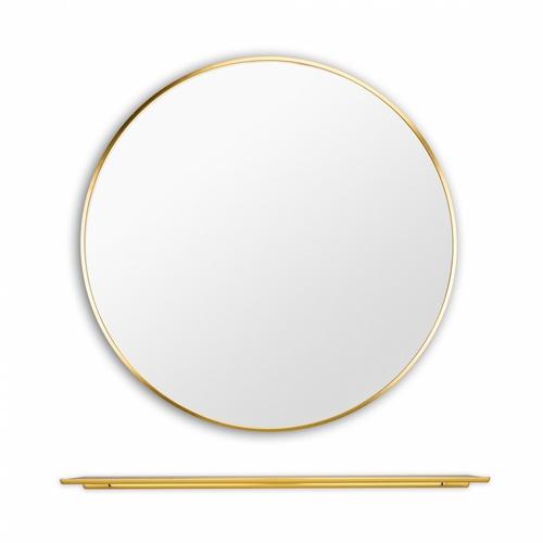 NICE ชุดกระจกอะลูมิเนียมทรงกลมพร้อมชั้นวางของ ขนาด 60X60 ซม. แองเจล่า สีทอง