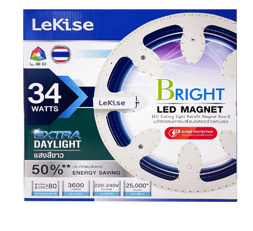 LEKISE ชุดเปลี่ยนหลอดโคมไฟเพดาน LED MAGNET 34 วัตต์ แสงขาว EXD_BRIGHT สีขาว