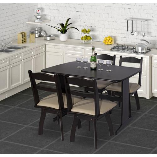 Delicato ชุดโต๊ะอาหาร4ที่นั่ง  AILEEN DE-4 สีน้ำตาลเข้ม