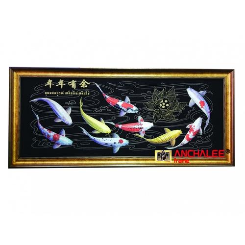 """Anchalee frame ภาพปลาคราฟกำมะหยี่สีดำ A3 ขนาด16""""x41"""""""