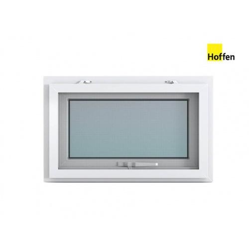 Hoffen หน้าต่างบานกระทุ้งไวนิล ขนาด 80cm.x50cm. พร้อมมุ้ง  W3 สีขาว