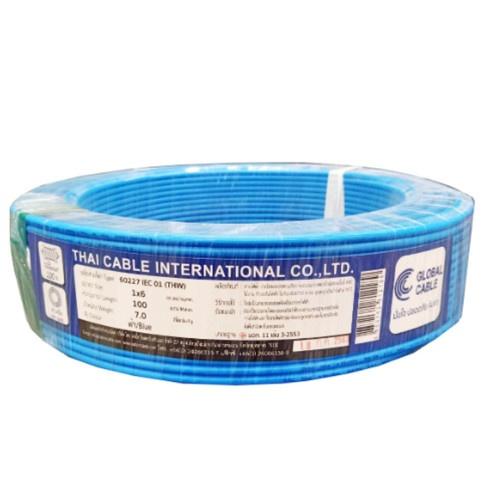 Global Cable สายไฟ THW  IEC01 1x6 100เมตร  สีน้ำเงิน