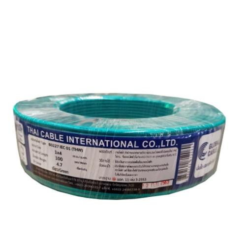 Global Cable สายไฟ THW  IEC01 THW 1x4 100เมตร  สีเขียว