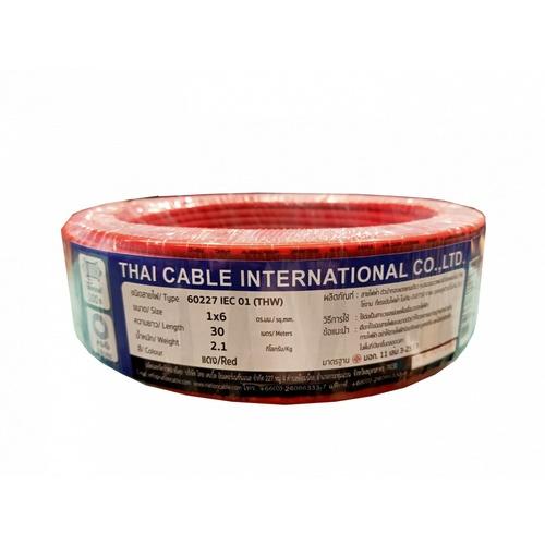 Global Cable สายไฟ THW  IEC01 1x6 30เมตร  สีแดง
