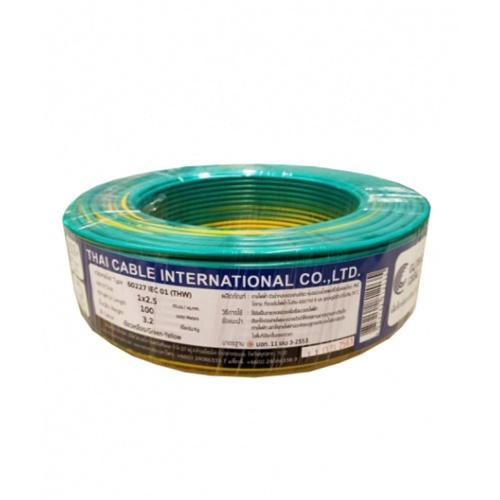 Global Cable สายไฟ IEC01 THW 1x2.5 100เมตร   เขียวแถบเหลือง