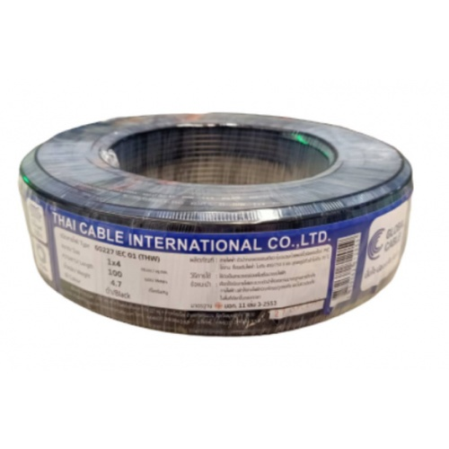 Global Cable  สายไฟ THW  IEC01 1x4 100เมตร  สีดำ
