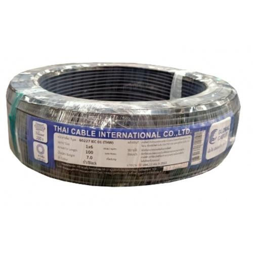 Global Cable สายไฟ  THW  IEC 01 1x6  100M  สีดำ