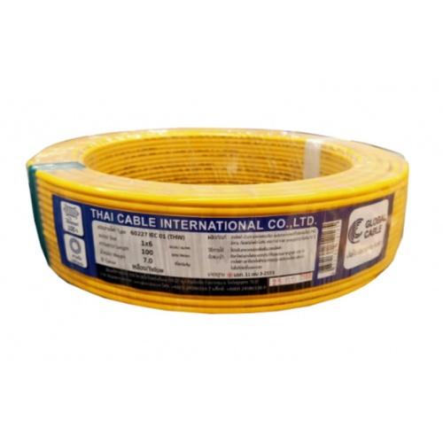 Global Cable  สายไฟ THW  IEC01 1x6 100เมตร  สีเหลือง