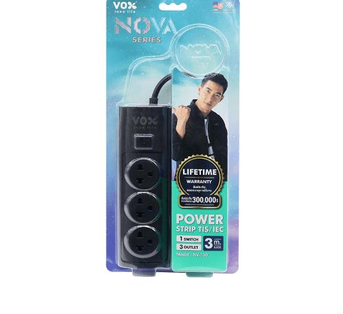 VOX รางปลั๊กไฟว็อกซ์โนวา 3 ช่อง 1 สวิตซ์  3 เมตร NOVA สีดำ