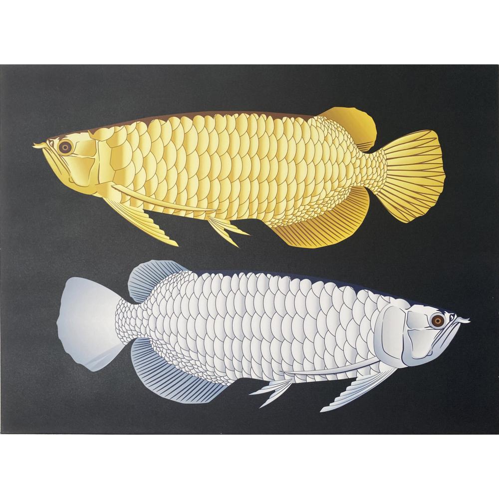 NICE รูปภาพพิมพ์ผ้าใบ ขนาด 50x70ซม. ปลาเงินปลาทองนำโชค  Fengshui C7050-8