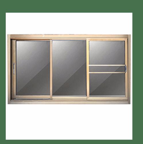 -  หน้าต่างอะลูมิเนียมบานเลื่อน  SFS ขนาด  200x108ซม. สีชา พร้อมมุ้ง
