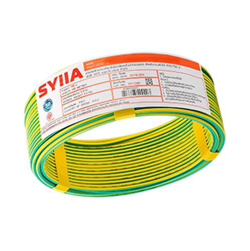 SYLLA สายไฟ 60227 IEC01  THW 1x1.5 Sq.mm.100m. สีเขียวแถบเหลือง
