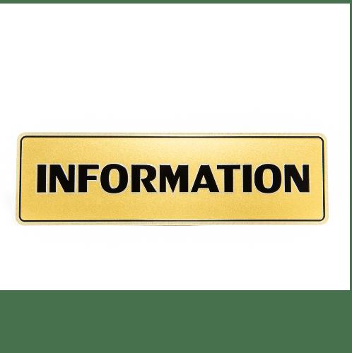 Cityart nameplate ป้าย INFORMATION SGB9101 สีทอง
