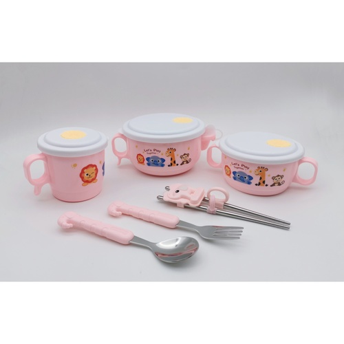 Nibiru ชุดจานชามเด็ก 6ชิ้น OPPA-PK สีชมพู