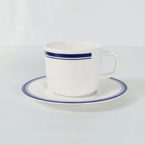 ADAMAS ชุดแก้วกาแฟเมลามีนพร้อมจานรอง 190 มล. JEREMY ขาว-น้ำเงิน